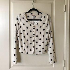 Modcloth white crop polka dot cardigan, size L